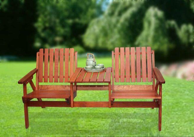 Bàn ghế sân vườn: mẫu băng ghế đôi, chất liệu gỗ Kempass